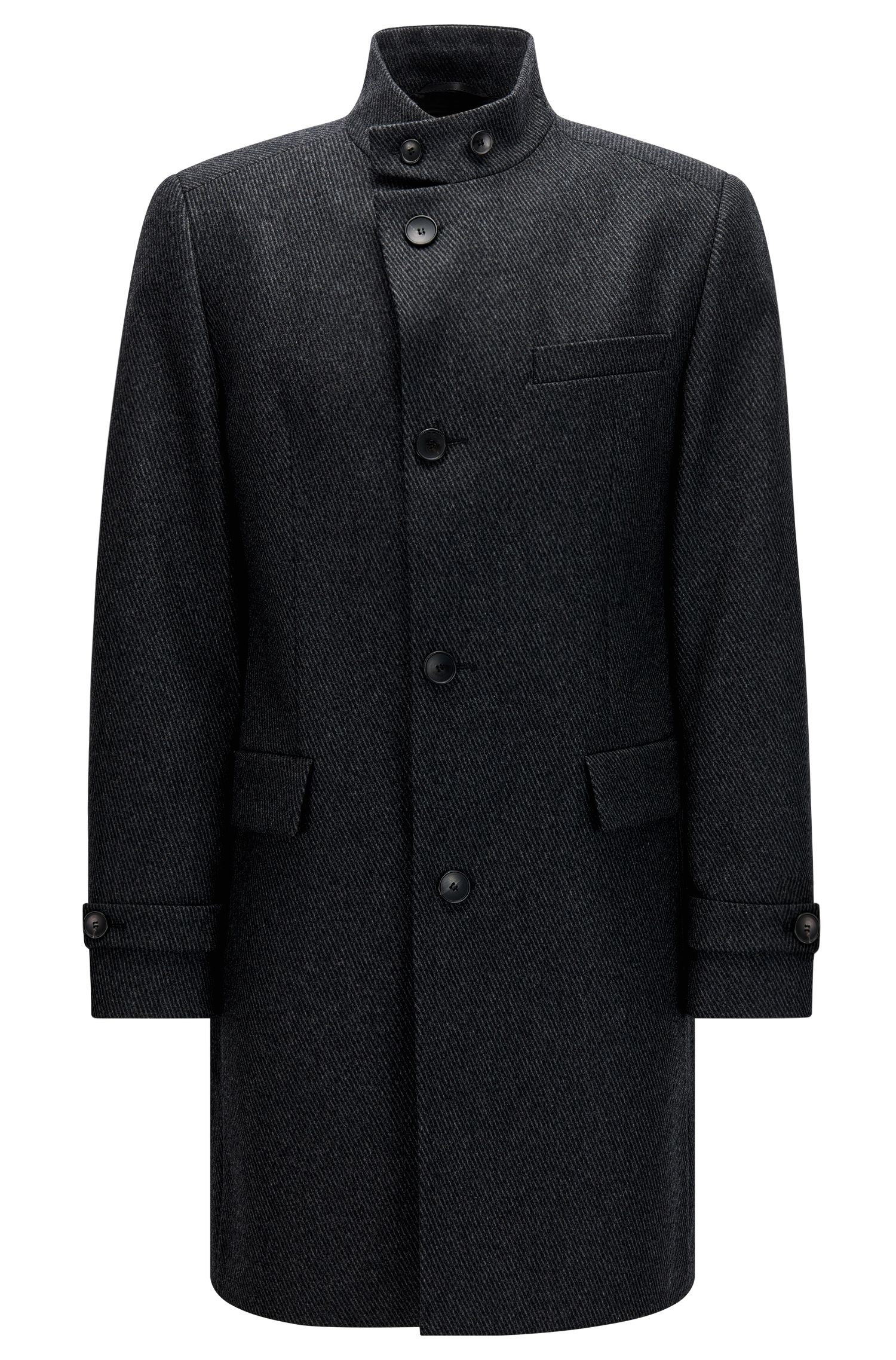 Regular-fit coat in a structured wool blend