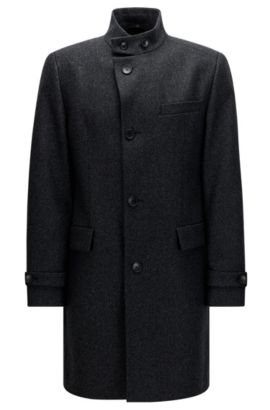 Regular-fit coat in a structured wool blend, Anthracite