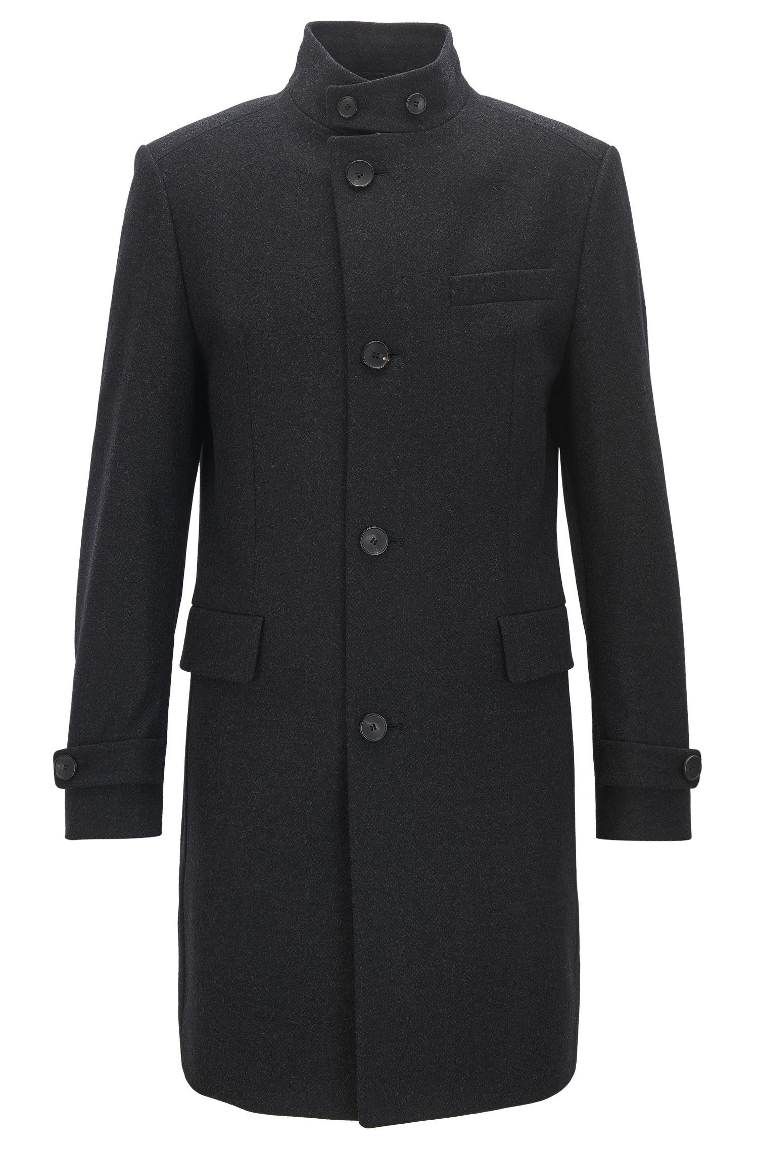 Manteau business Regular Fit en laine vierge mélangée, à la coupe asymétrique sur le devant
