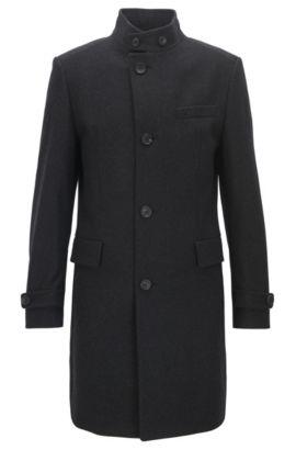 Manteau business Regular Fit en laine vierge mélangée, à la coupe asymétrique sur le devant, Anthracite
