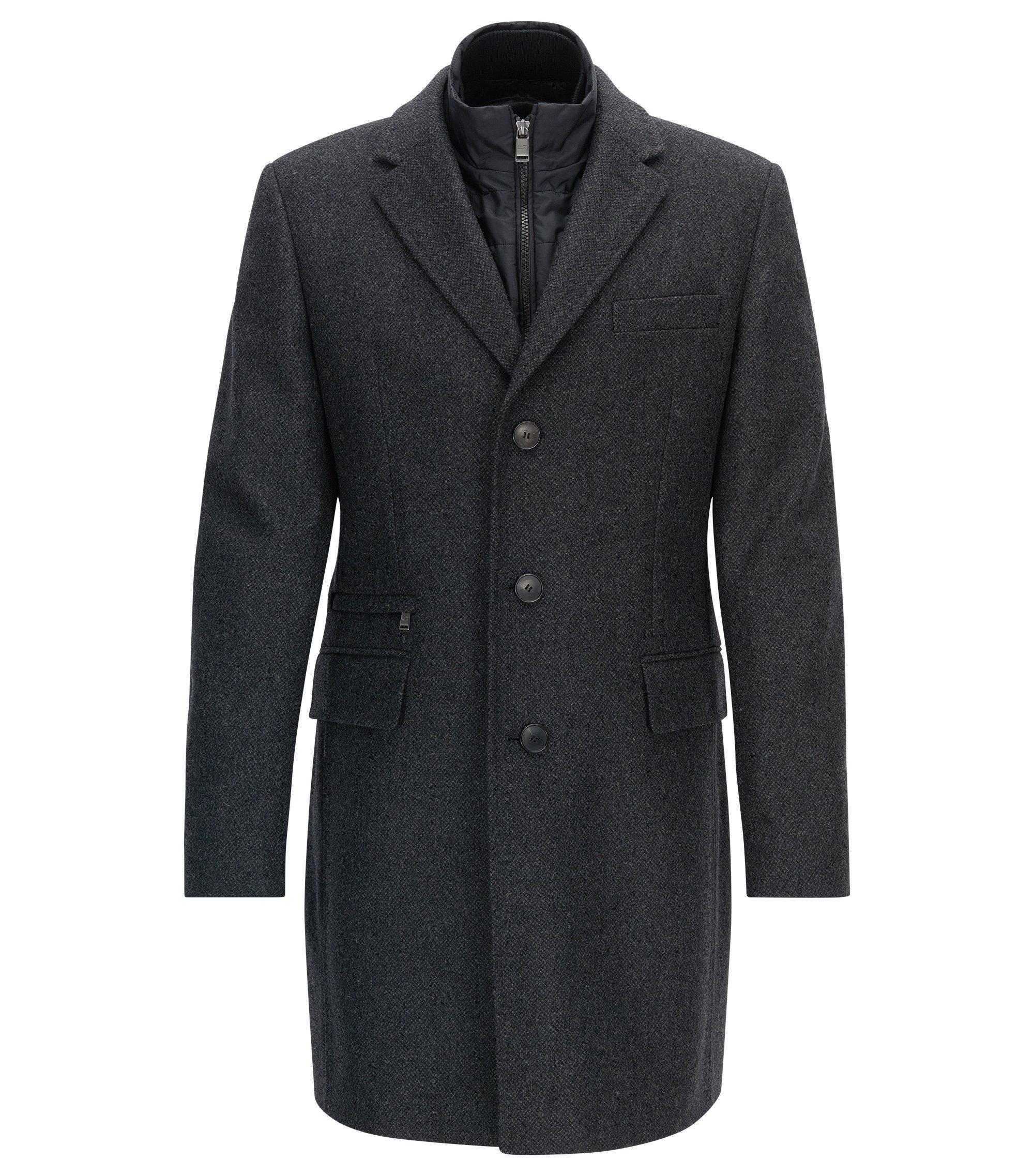 Slim-fit virgin wool blend coat with vest, Dark Grey
