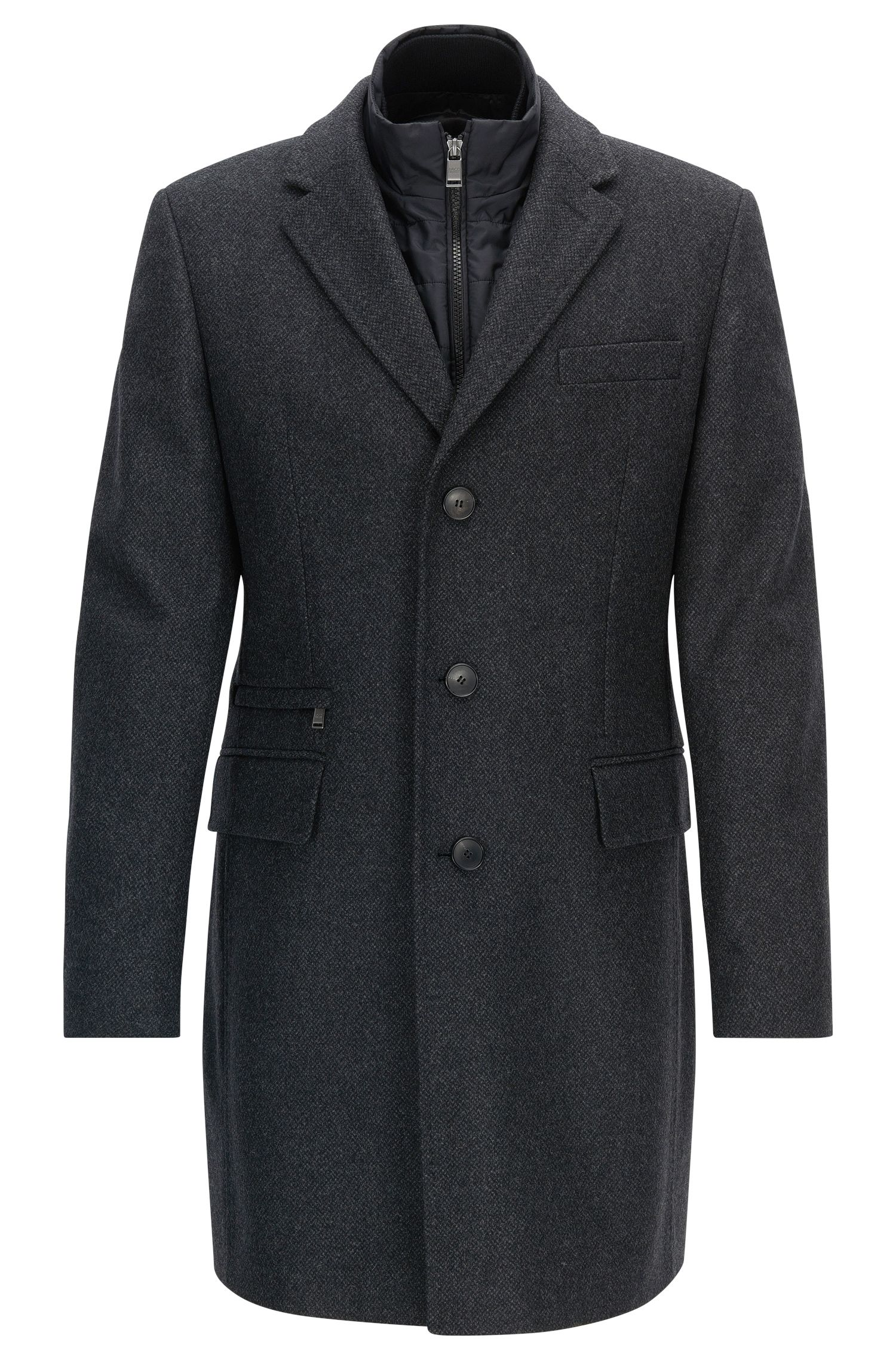 Slim-fit virgin wool blend coat with vest