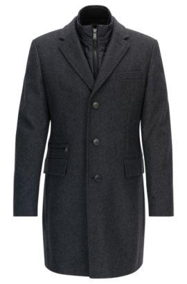 Manteau Slim Fit en laine vierge mélangée avec veste intégrée, Gris sombre