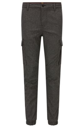 Tapered-fit cargobroek met prince-of-wales-ruiten, Zwart