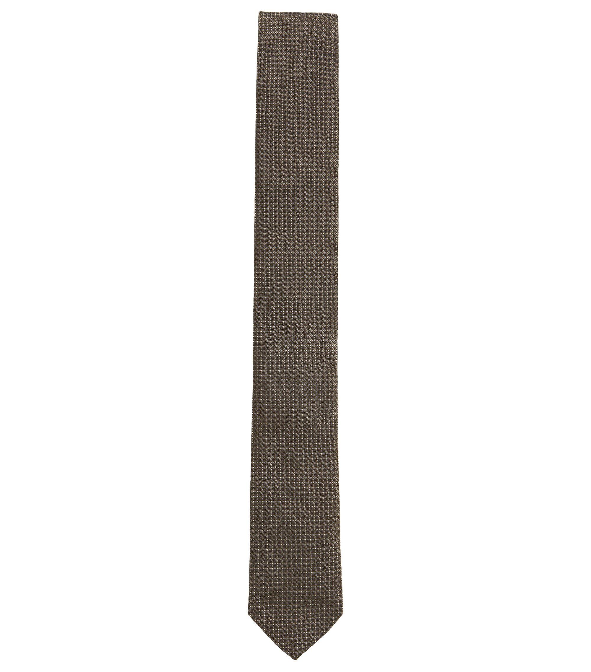 Silk patterned tie, Kaki