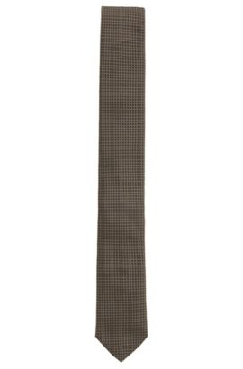 Silk patterned tie, Khaki