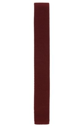 Knitted silk tie with squared end, Red