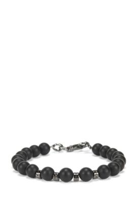 Agate stone bracelet with carabiner closure, Black