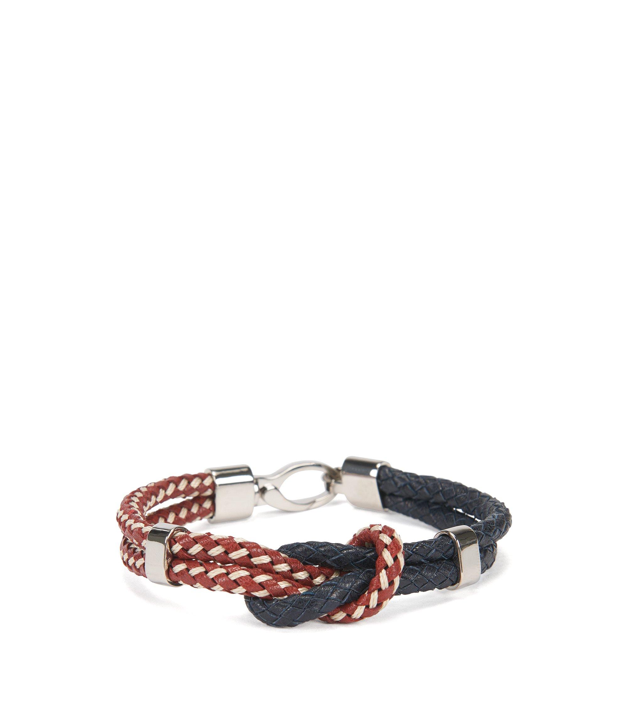 Geknoopte armband van tweekleurig leer, Rood