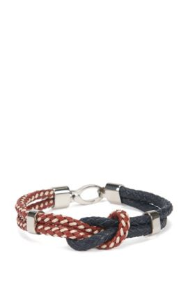 Knotted bracelet in two-tone leather, Red