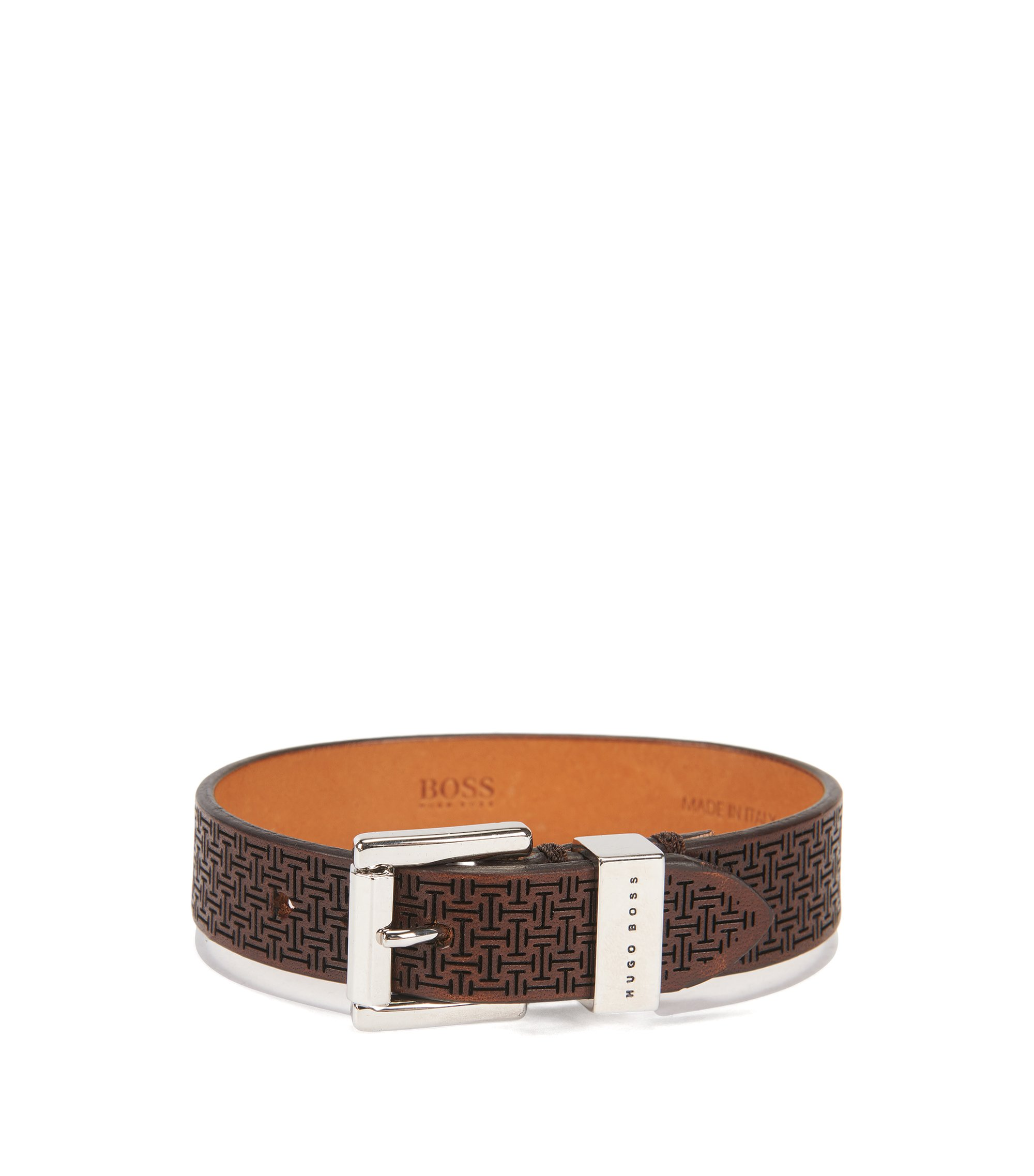 Armband aus edlem Leder mit gelasertem Muster, Dunkelbraun