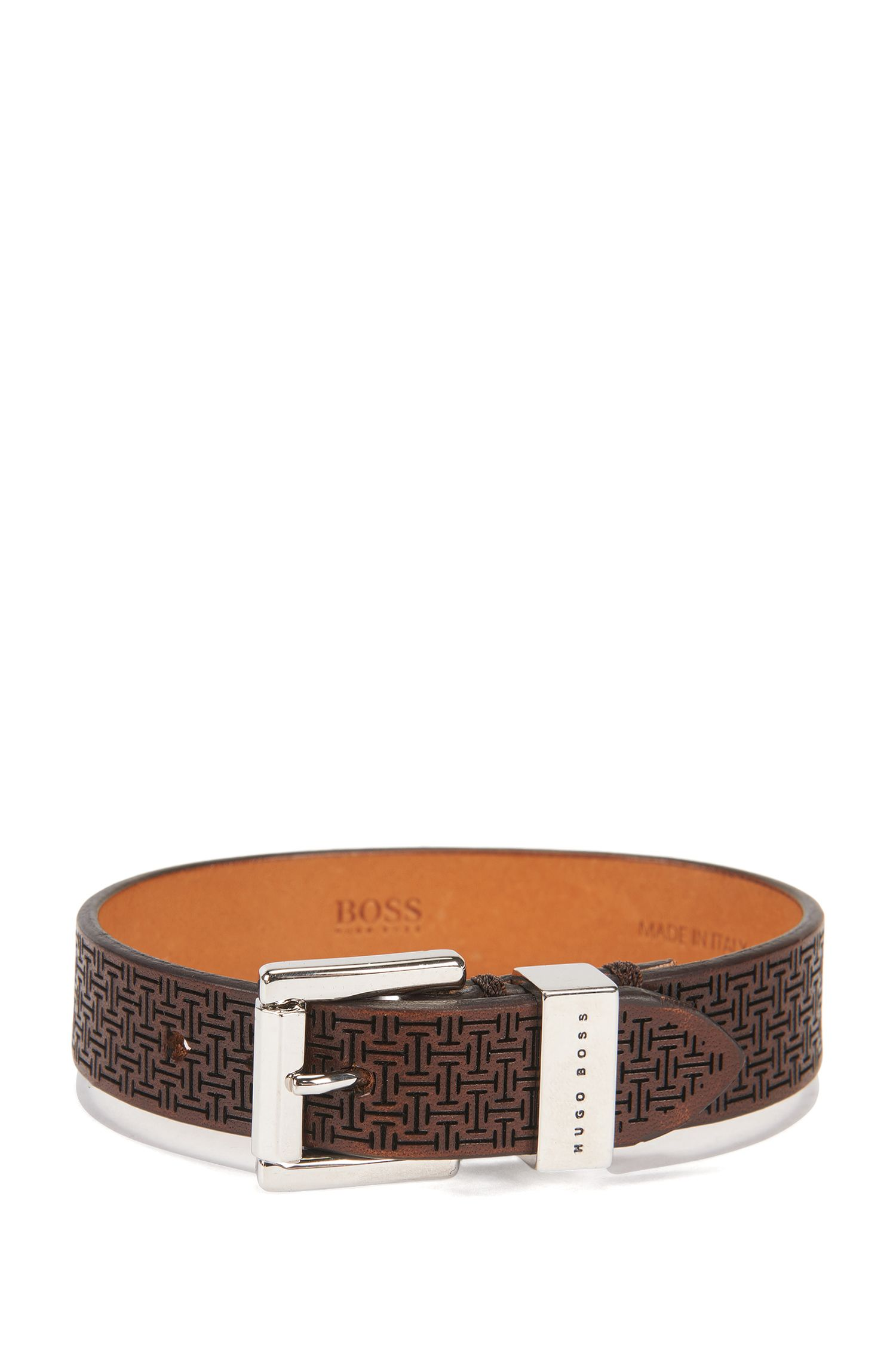 Armband aus edlem Leder mit gelasertem Muster