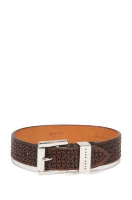 Micro-lasered bracelet in rich leather, Dark Brown