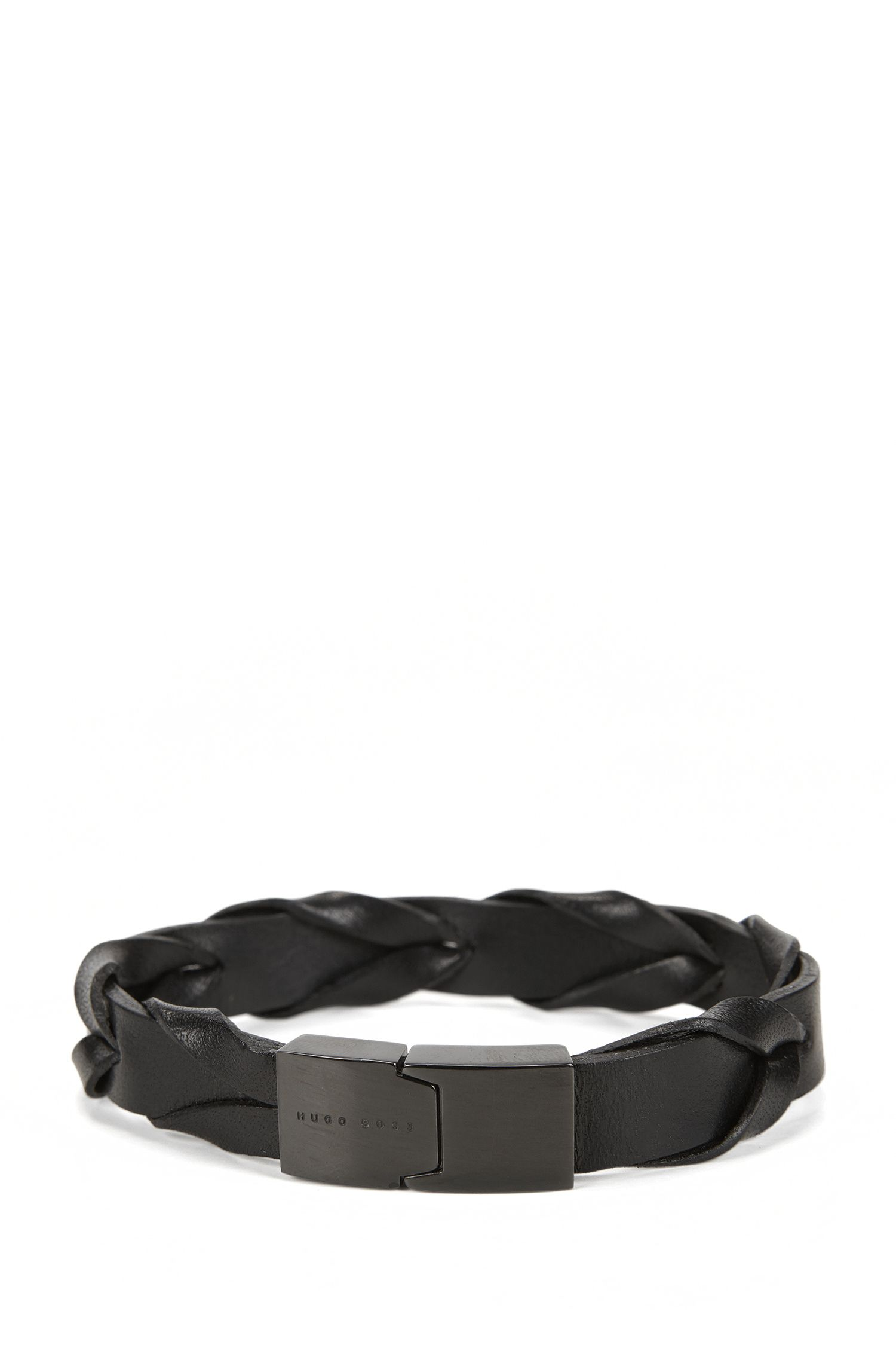 Woven leather bracelet with magnet closure
