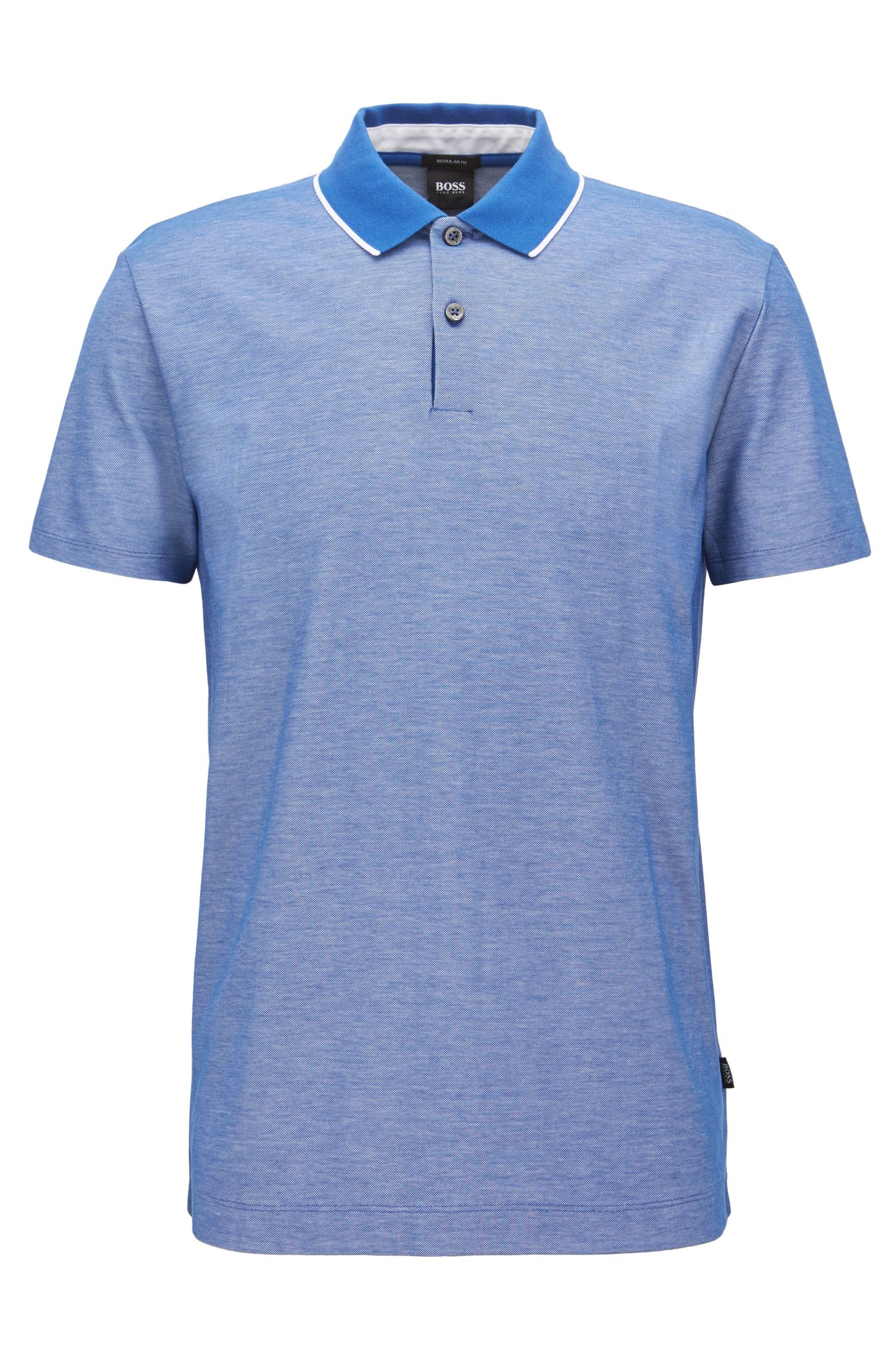 Regular-fit polo shirt in two-tone honeycomb cotton, Open Blue