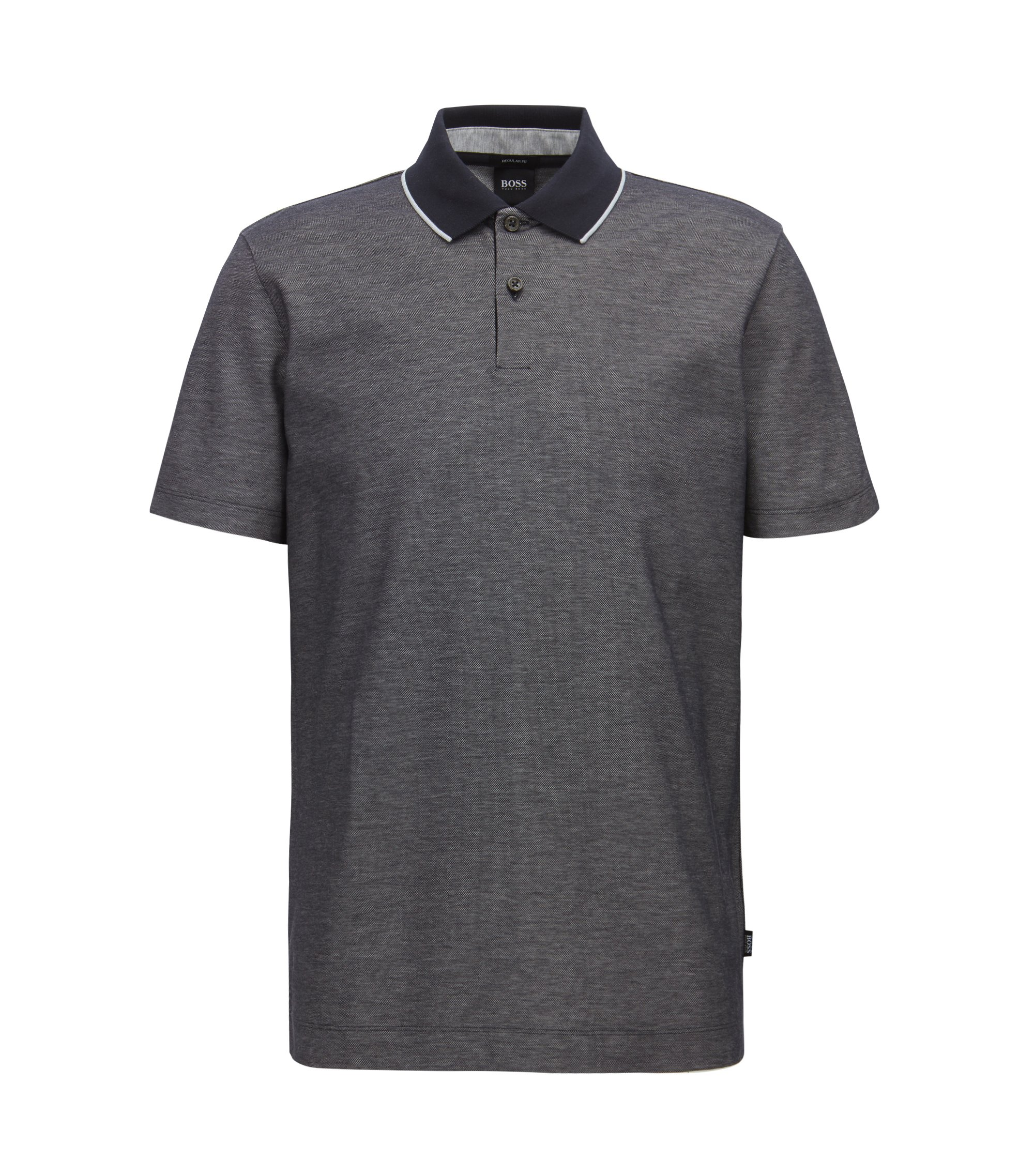 Regular-fit polo shirt in two-tone honeycomb cotton, Dunkelblau