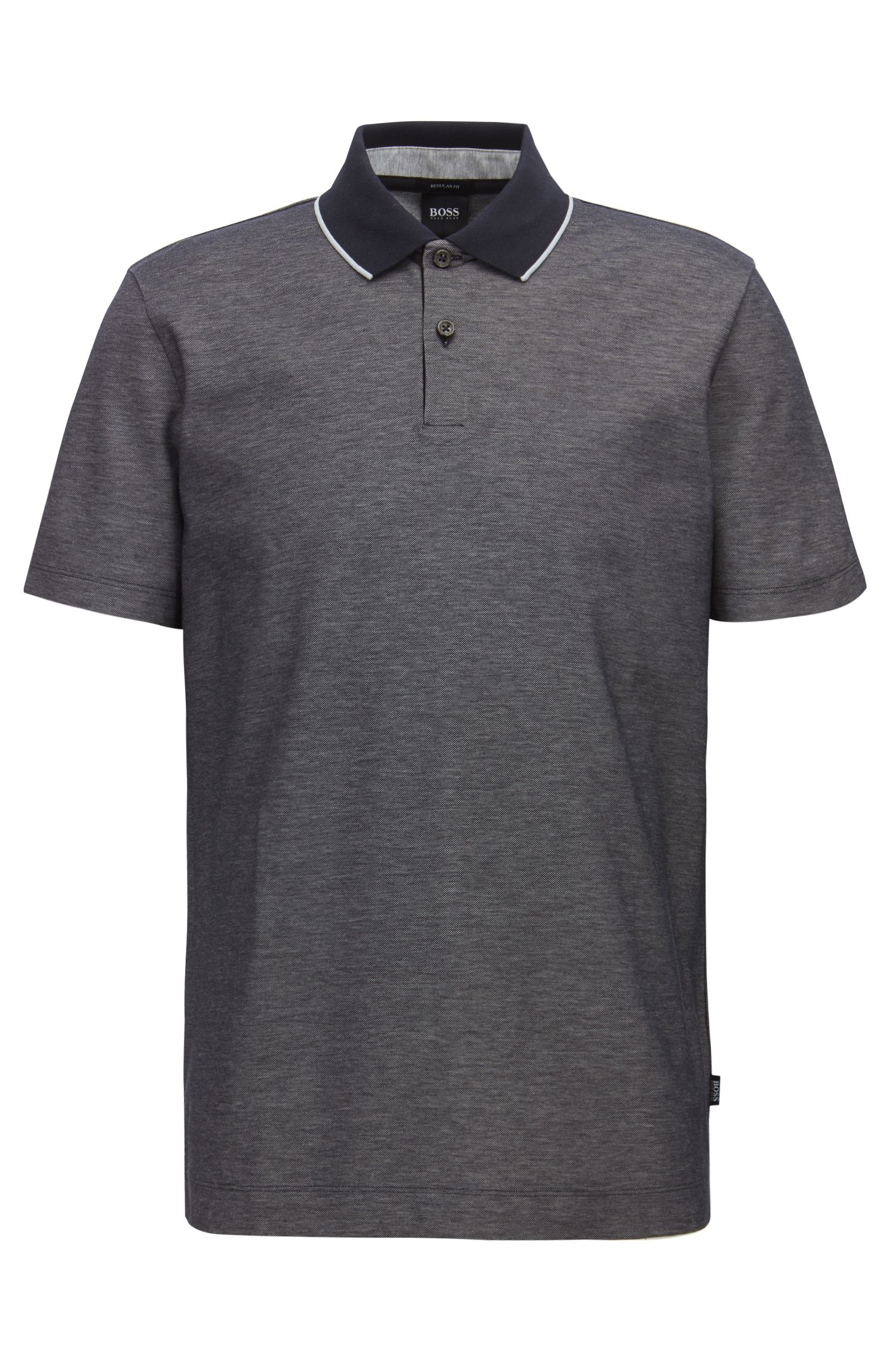 Regular-fit polo shirt in two-tone honeycomb cotton, Dark Blue
