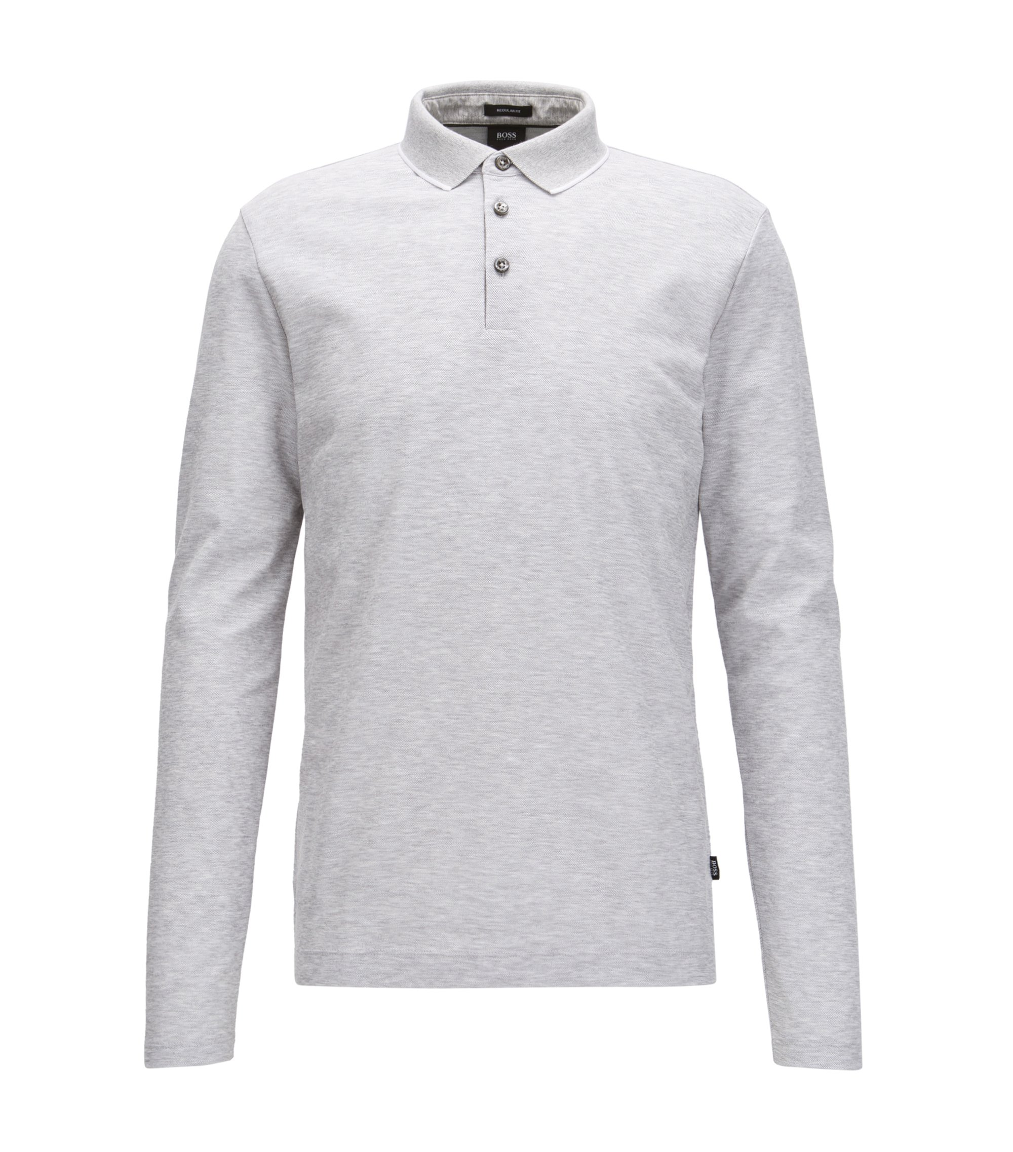 Regular-fit polo shirt in honeycomb cotton, Light Grey