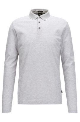 Regular-fit polo shirt in honeycomb cotton, Light Grey