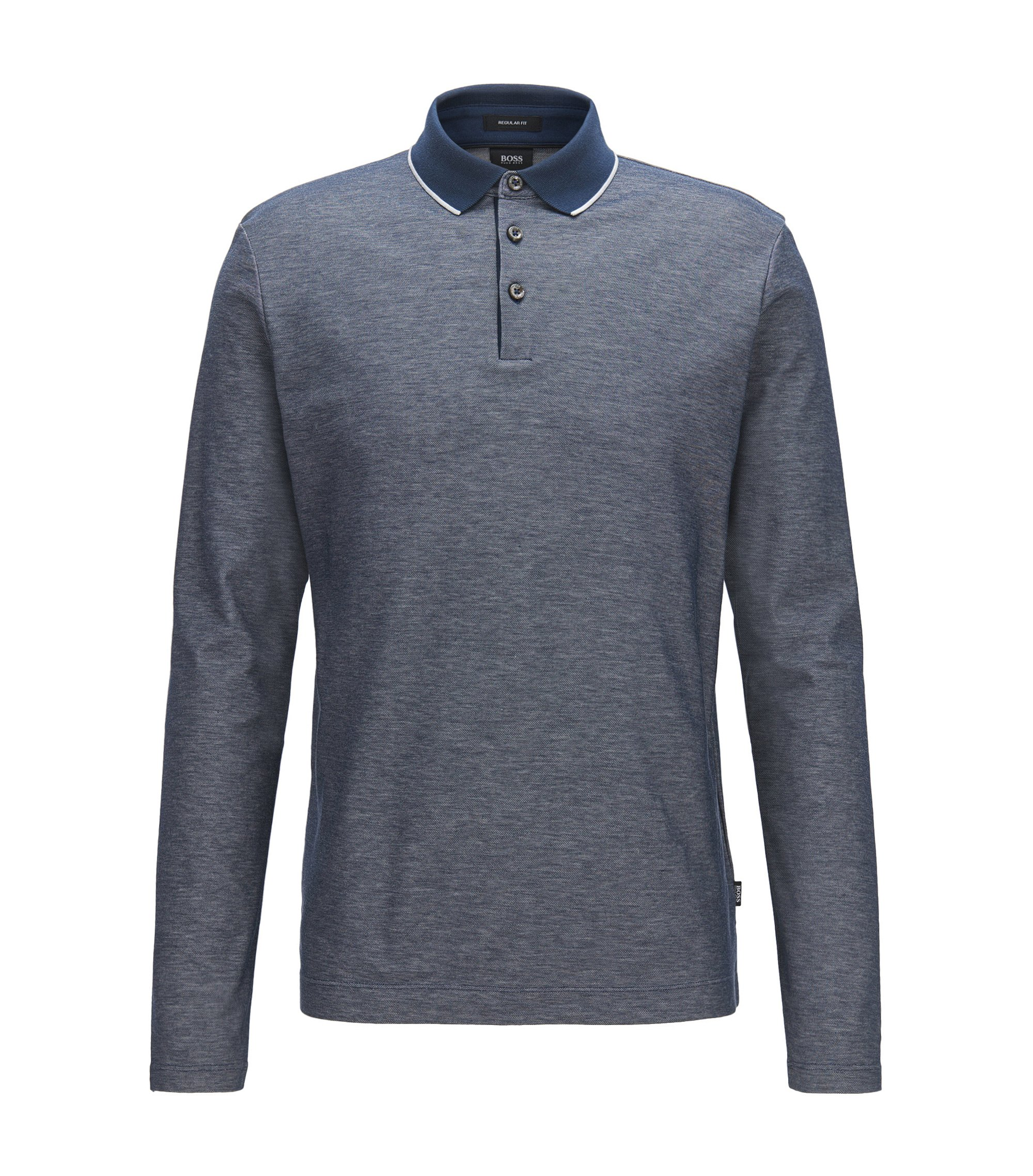 Polo regular fit in cotone a nido d'ape, Blu scuro