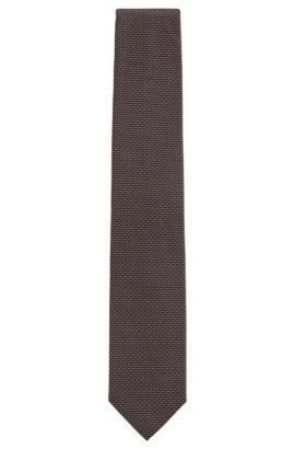 Micro-patterned tie in silk jacquard, Brown