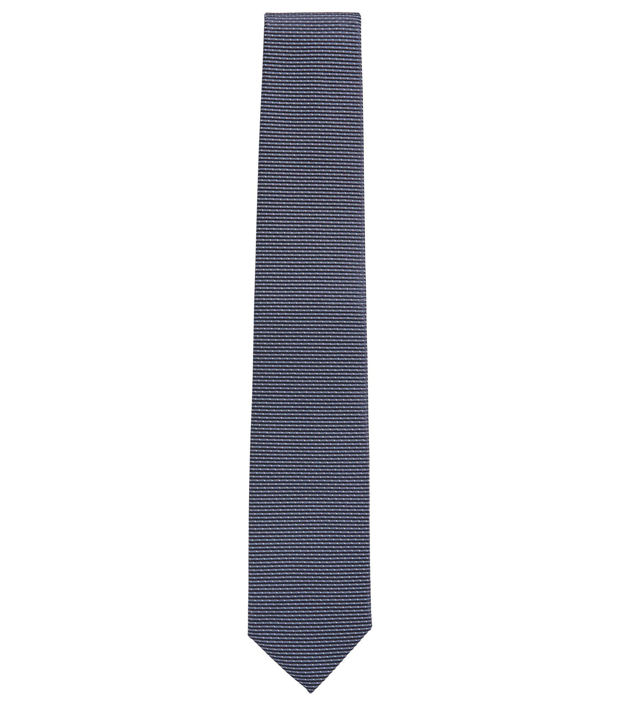 Stropdas in een jacquard van zijde met microdessin, Donkerblauw