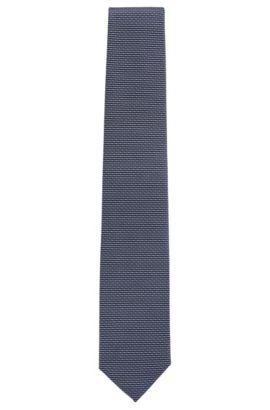 Cravate en jacquard de soie à micro-motif, Bleu foncé