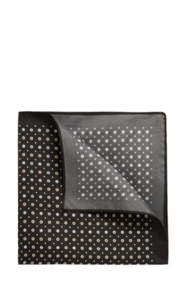 Micro-pattern pocket square in silk twill, Black