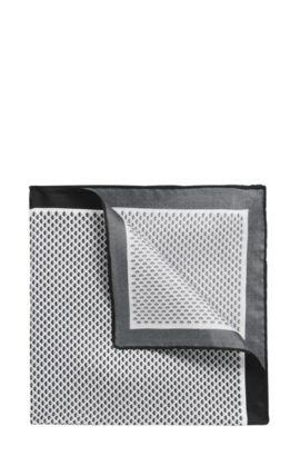 Pochette da taschino in twill di seta con microdisegni, Bianco