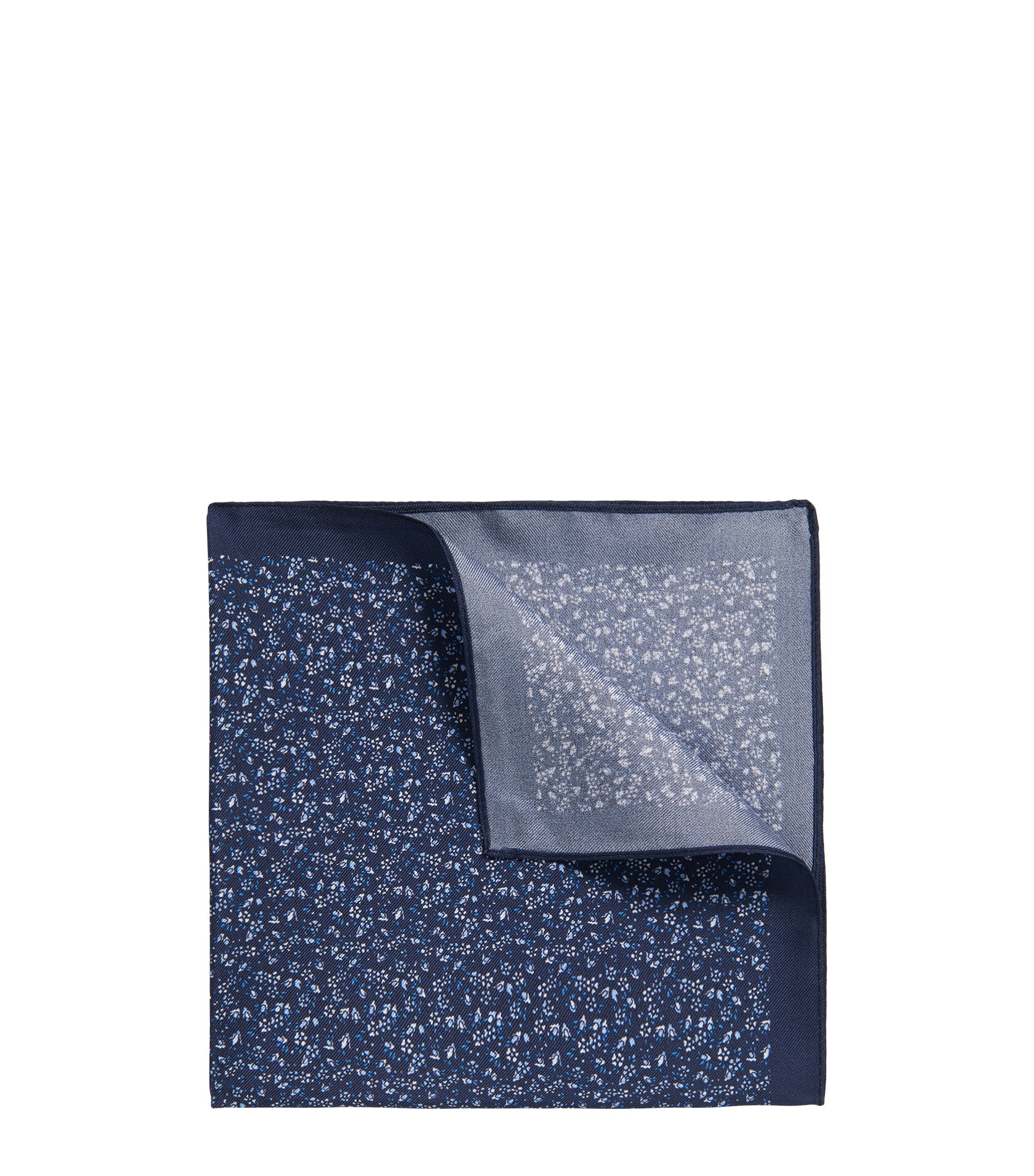 Pochette en twill de soie à micro-motif, Bleu foncé
