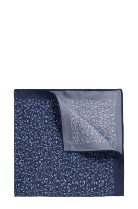 Micro-pattern pocket square in silk twill, Dark Blue