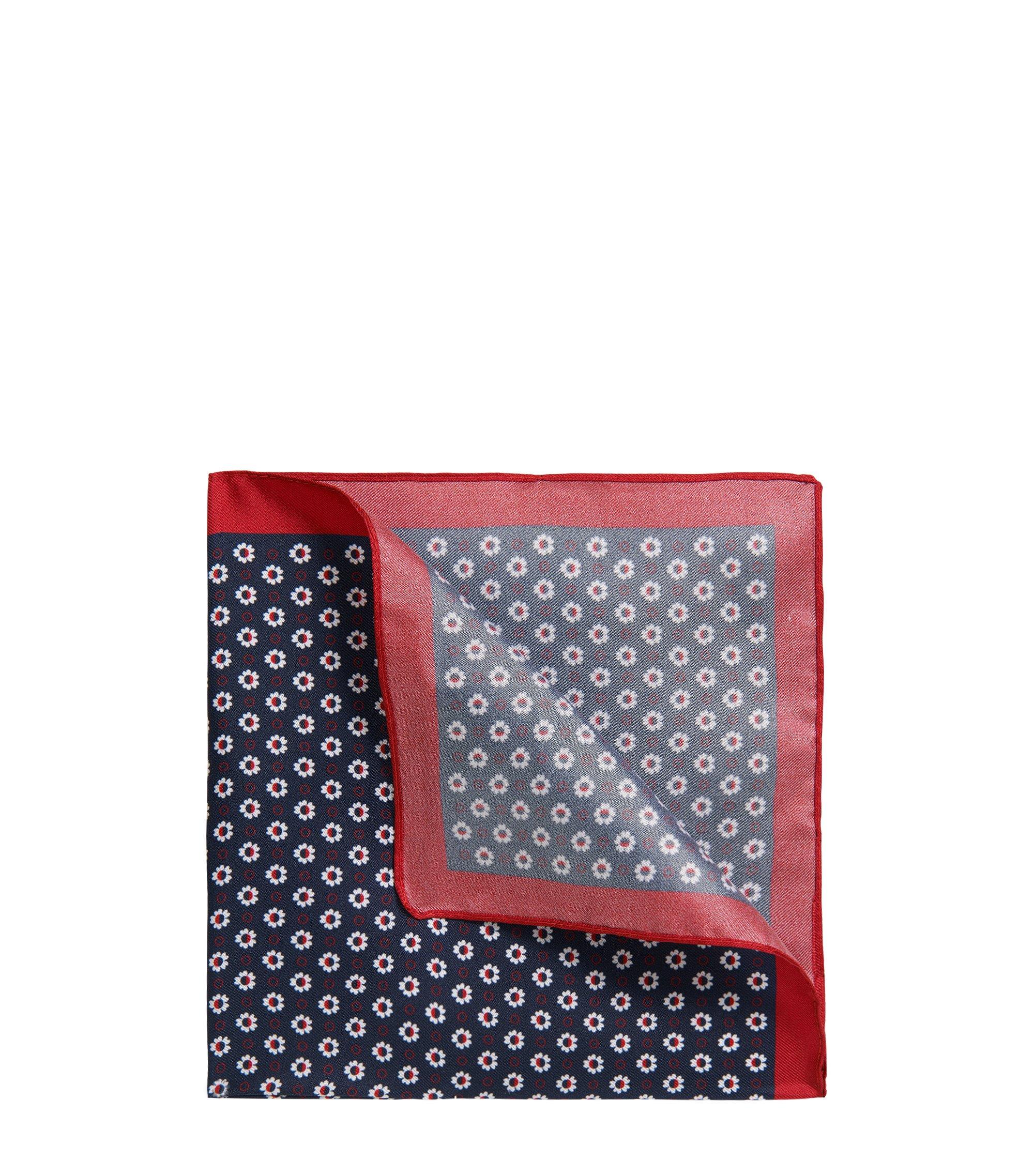 Pañuelo de bolsillo microestampado en sarga de seda, Azul oscuro