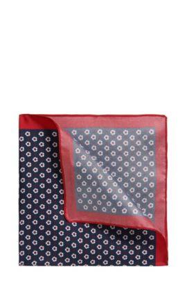 Pochet van zijdetwill met microdessin, Donkerblauw