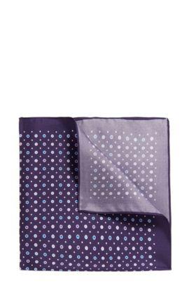Pochette en twill de soie à micro-motif, Violet foncé