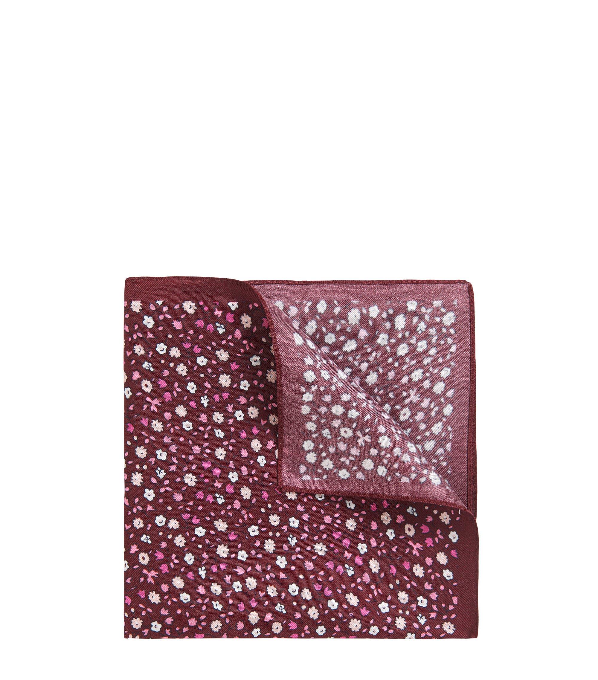 Pañuelo de bolsillo microestampado en sarga de seda, Rojo