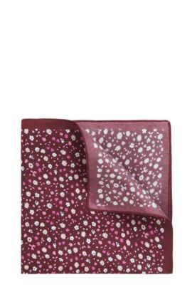 Micro-pattern pocket square in silk twill, Red