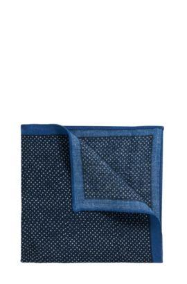 Pochette en twill de laine à micro-motif , Bleu foncé