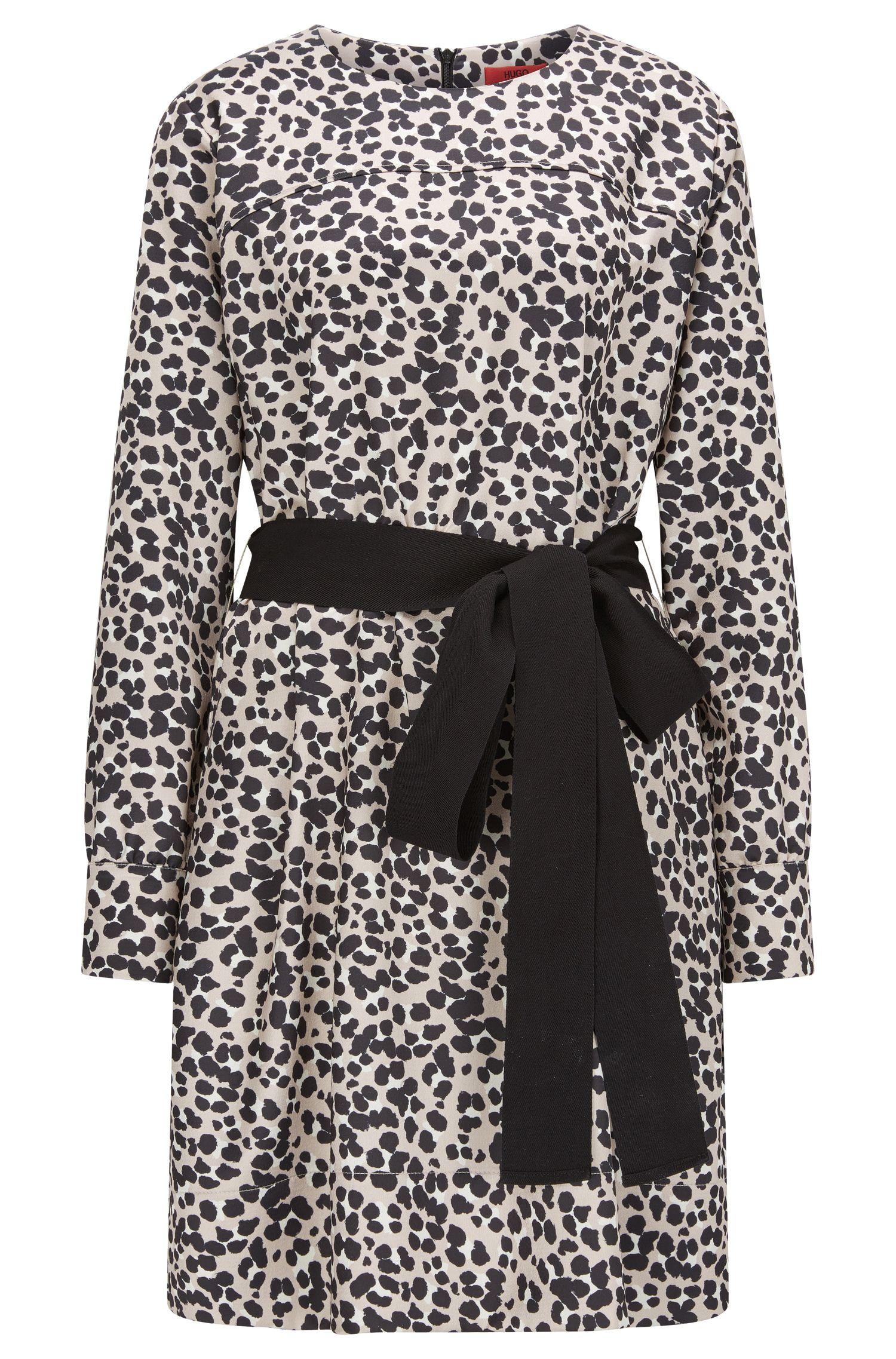 Vestido de crepé abatanado con estampado de guepardo