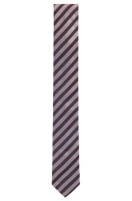 Krawatte aus Seiden-Jacquard mit diagonalen Streifen , Blau