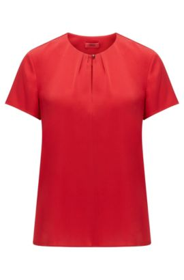 Regular-fit top in a silk blend, Red