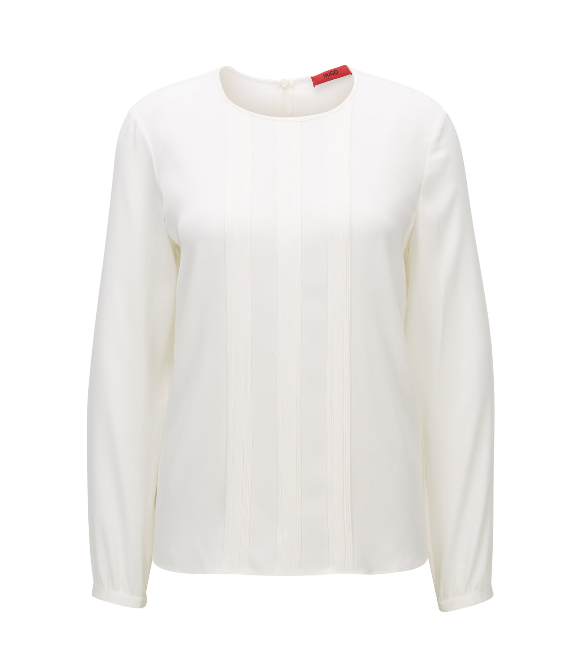Relaxed-fit top van een zijdemix, Naturel