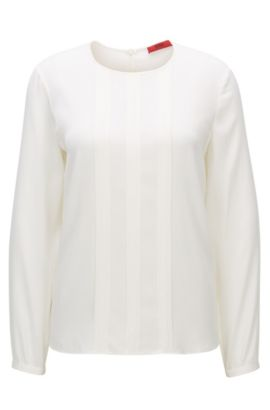 Relaxed-fit top in a silk blend, Natural