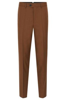 Slim-fit broek van geverfd scheerwolgaren, Bruin