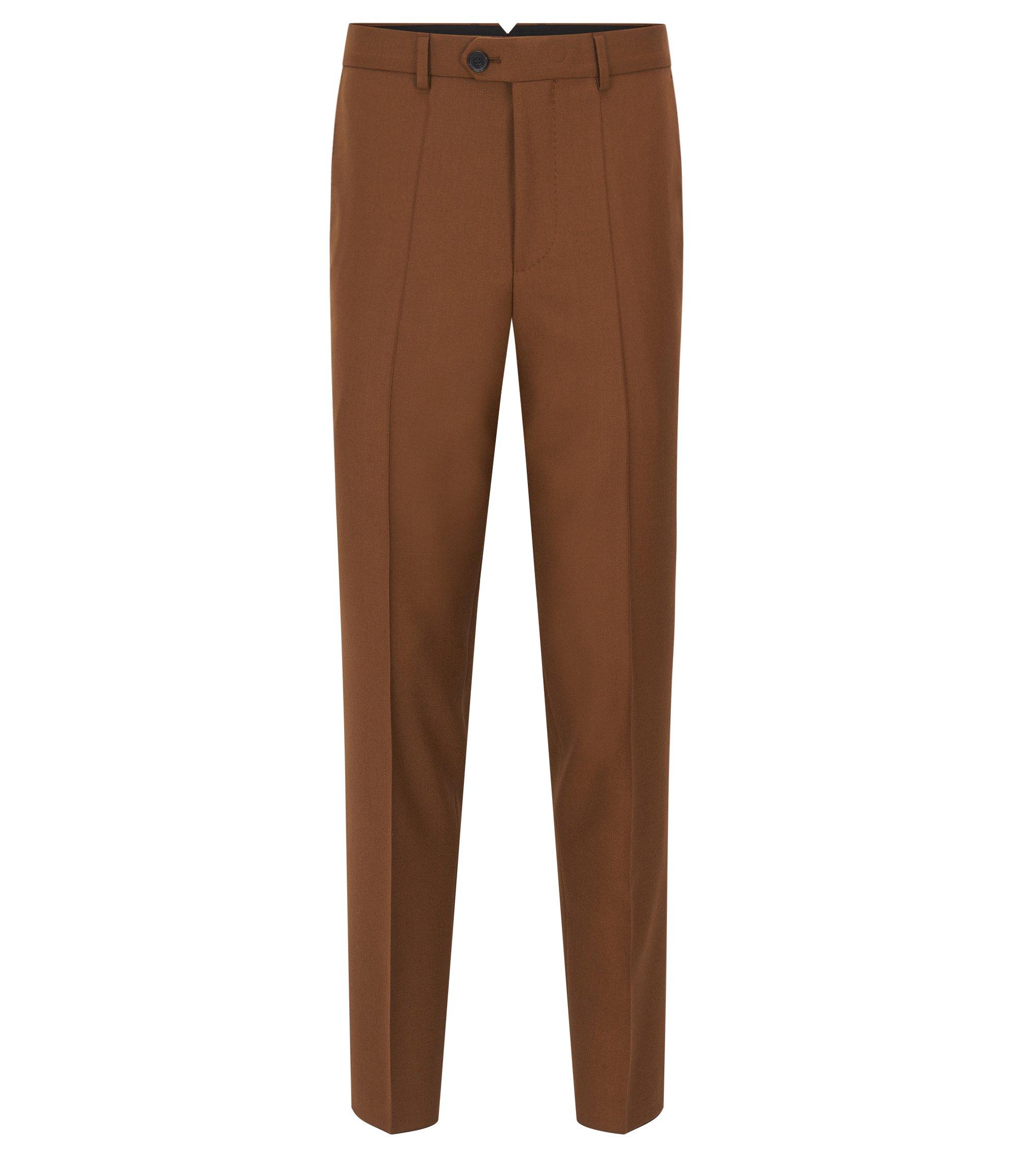 Slim-fit yarn-dyed virgin wool trousers, Brown