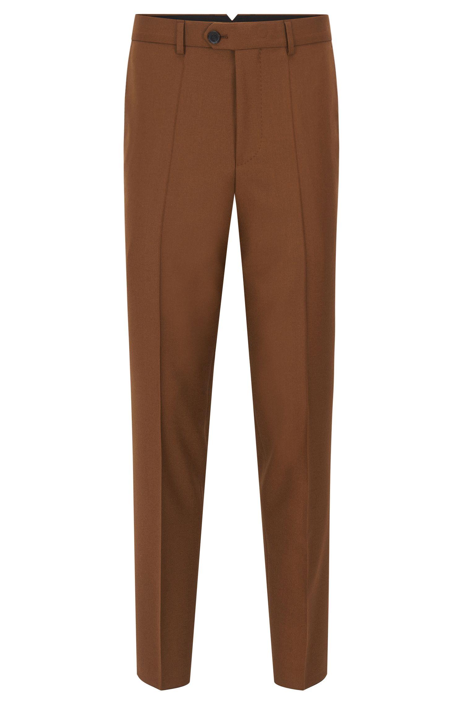Pantalon Slim Fit en laine vierge tissée-teinte