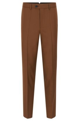 Pantalon Slim Fit en laine vierge tissée-teinte, Marron