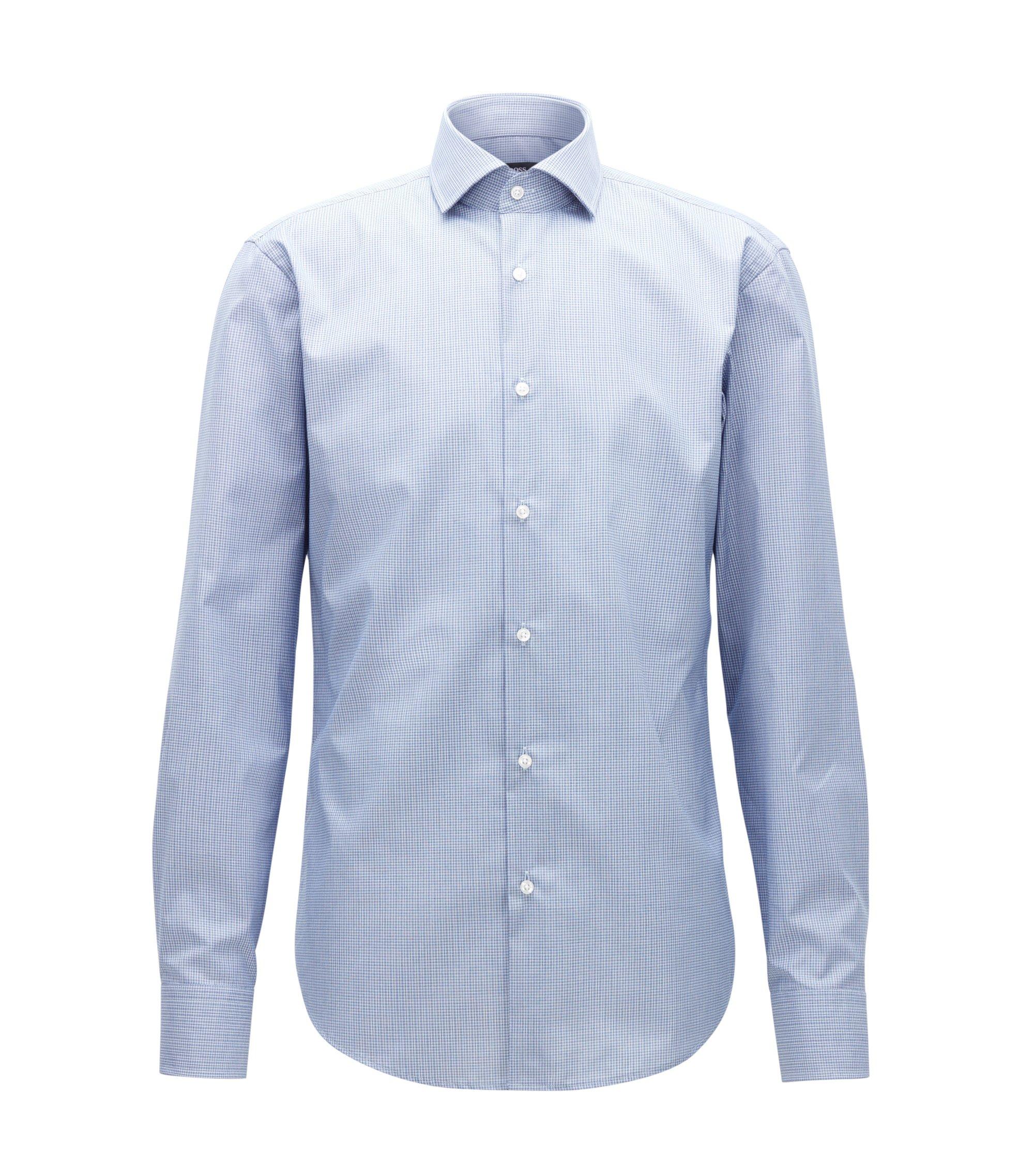 Gemakkelijk te strijken, regular-fit overhemd van katoen met microruitdessin, Lichtblauw