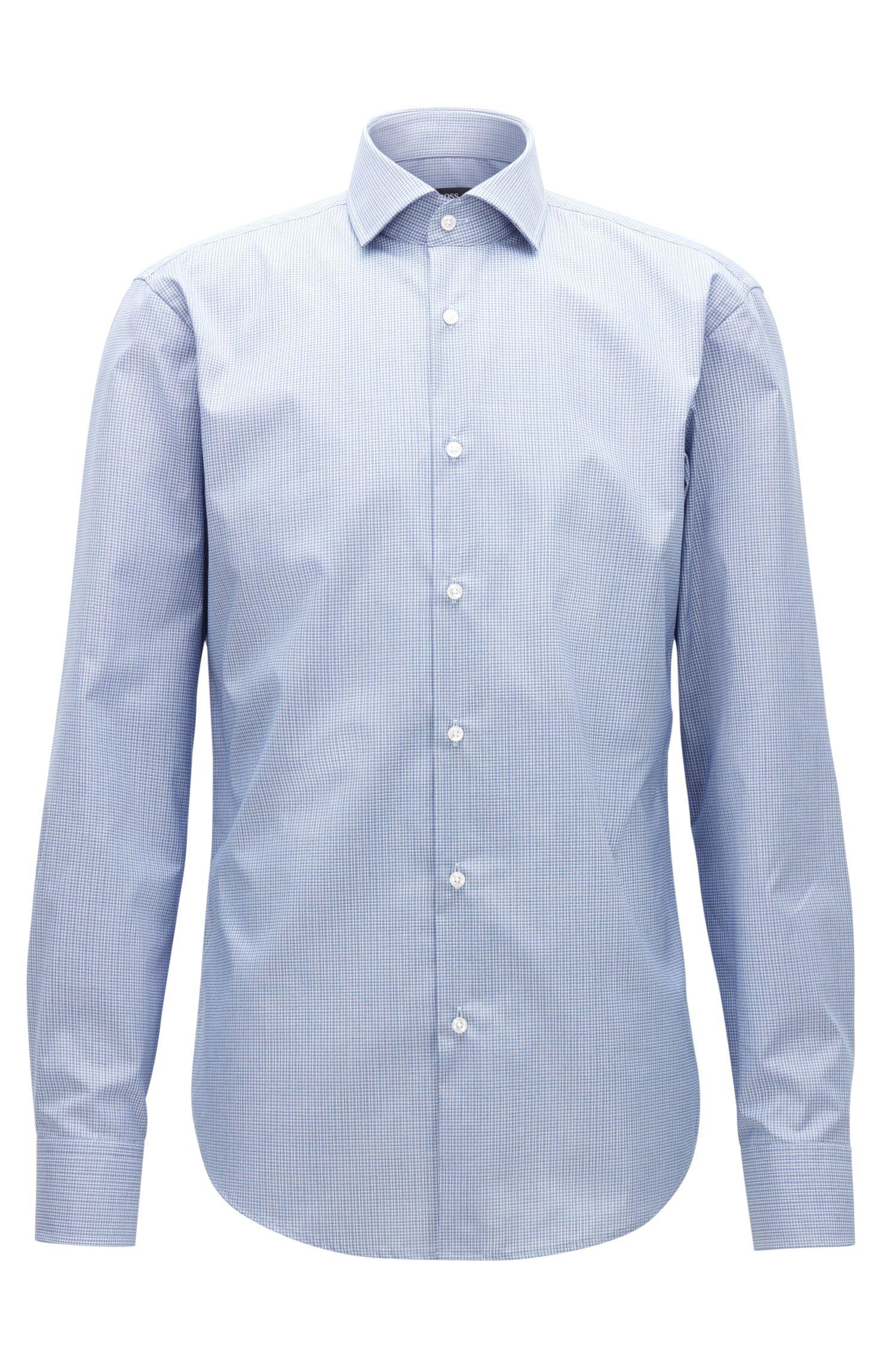Gemakkelijk te strijken, regular-fit overhemd van katoen met microruitdessin