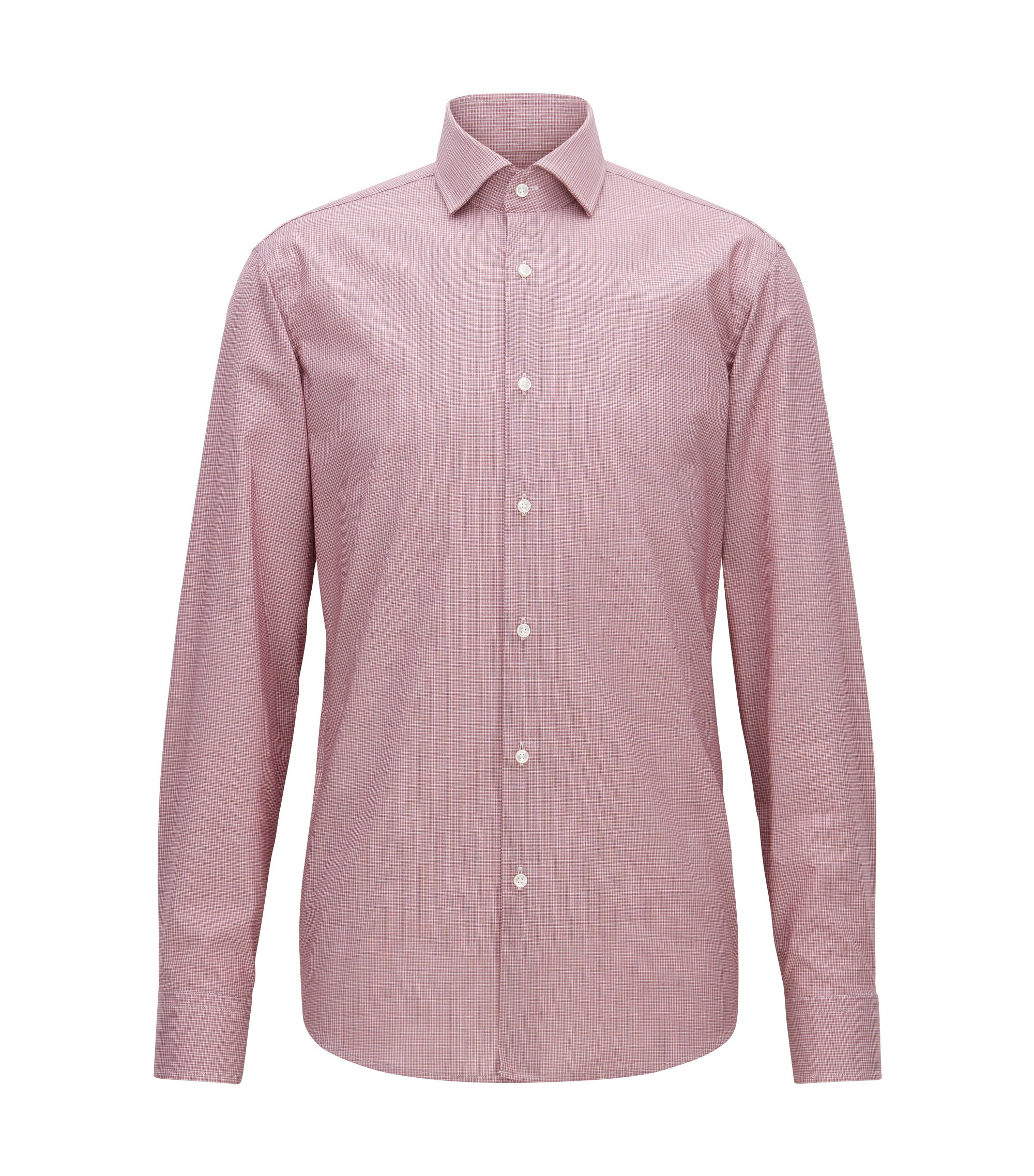 Camisa regular fit en algodón de planchado fácil con microcuadros, Rojo