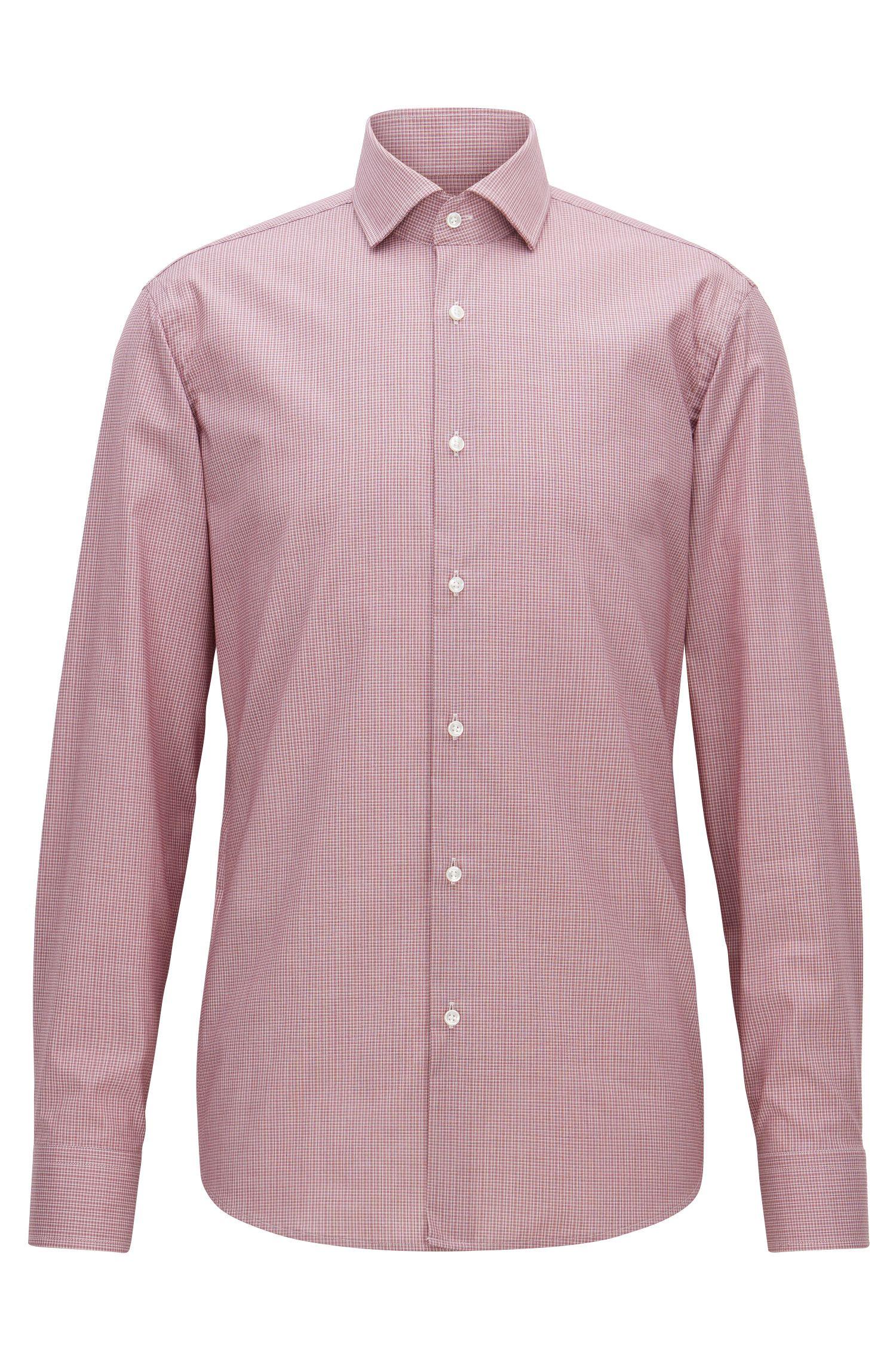 Fein kariertes Regular-Fit Hemd aus bügelleichter Baumwolle